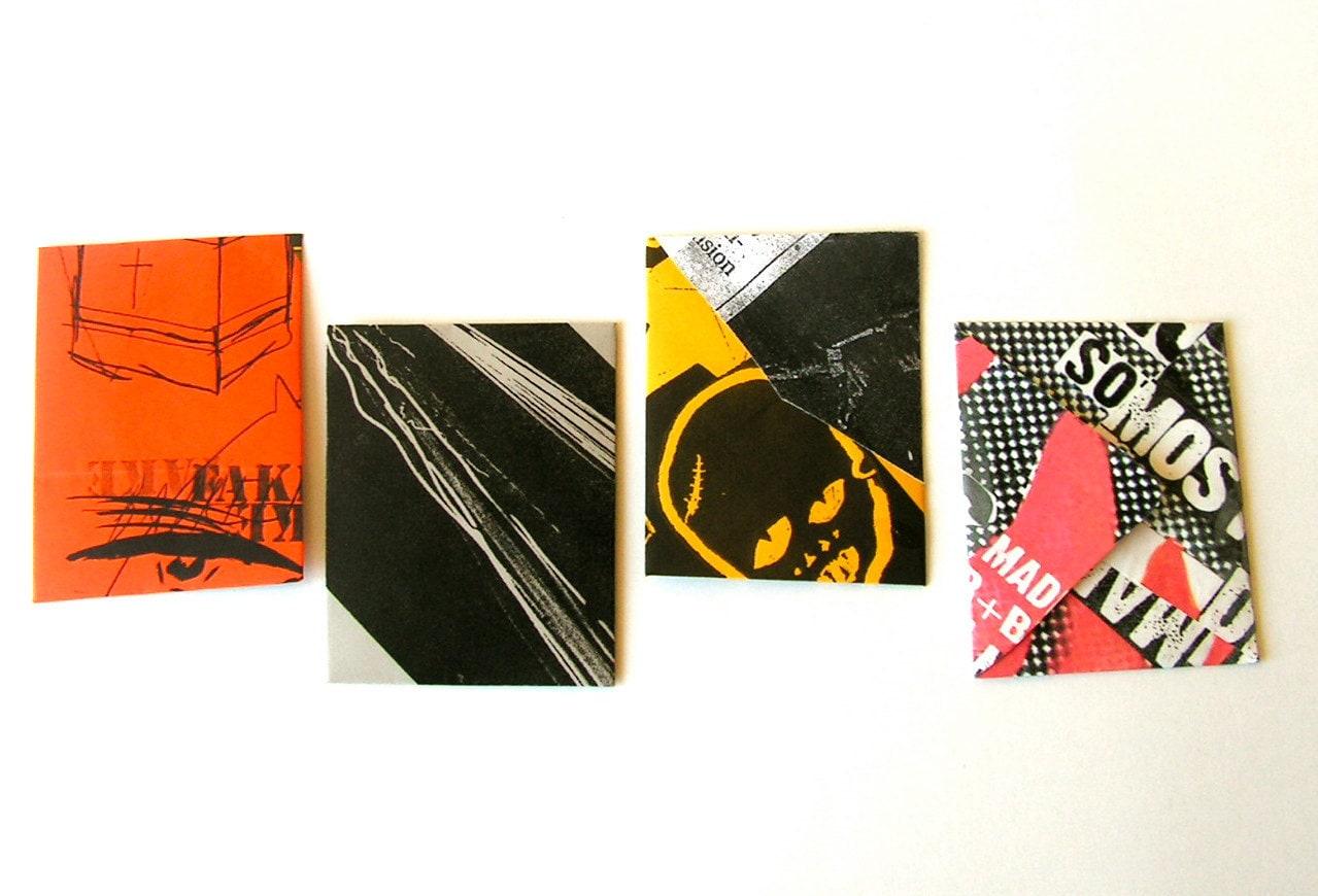 Mini envelopes Les miniature Punkvelopes, made from punk rock posters - moonandlion