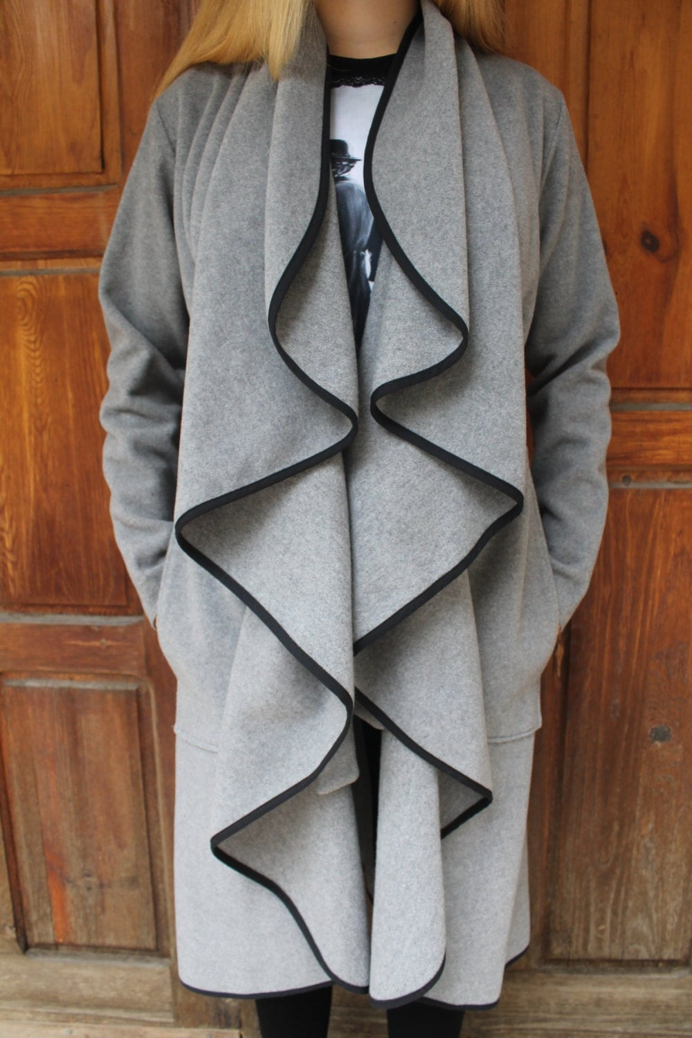 Grey Woollen Long Coat  Gray Belted Coat  Wool Coat  Wavy Front Coat  Frilly Long Coat  Warm Elegant and Fashionable by Silvia Monetti