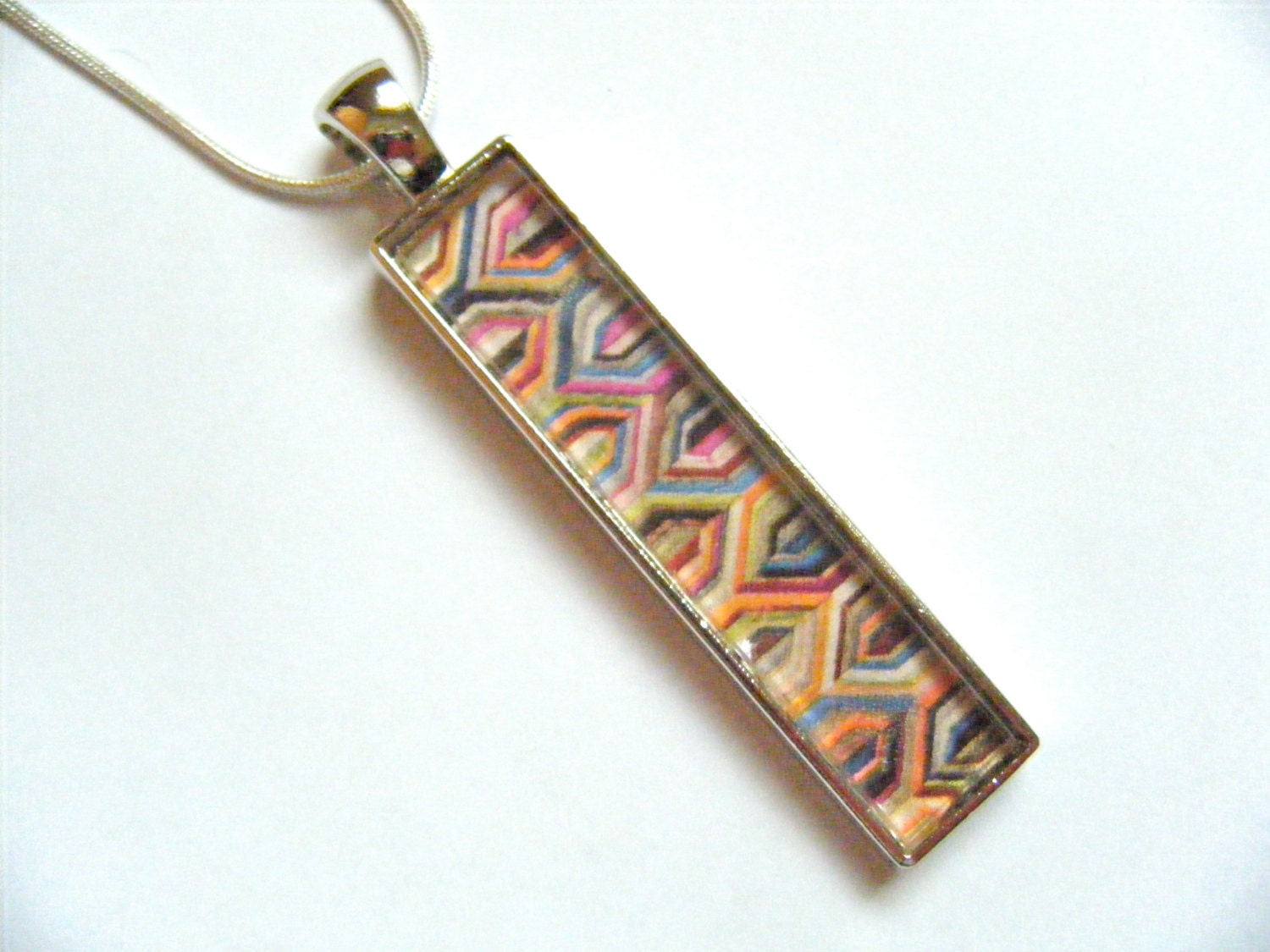 OOAK Colorful Chevron Glass Tile Necklace Pendant Modern Wearable Art Rectangle Metal Tray Recycled Repurposed Upcycled Magazine Jewelry - HeidiKindFinds