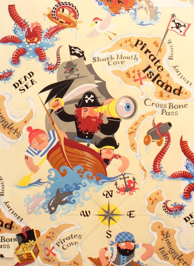 pirate island fabric