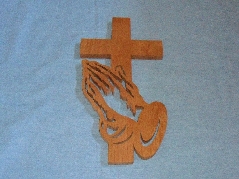 Praying Hands Wooden Wall Cross by huebysscrollsawart on Etsy