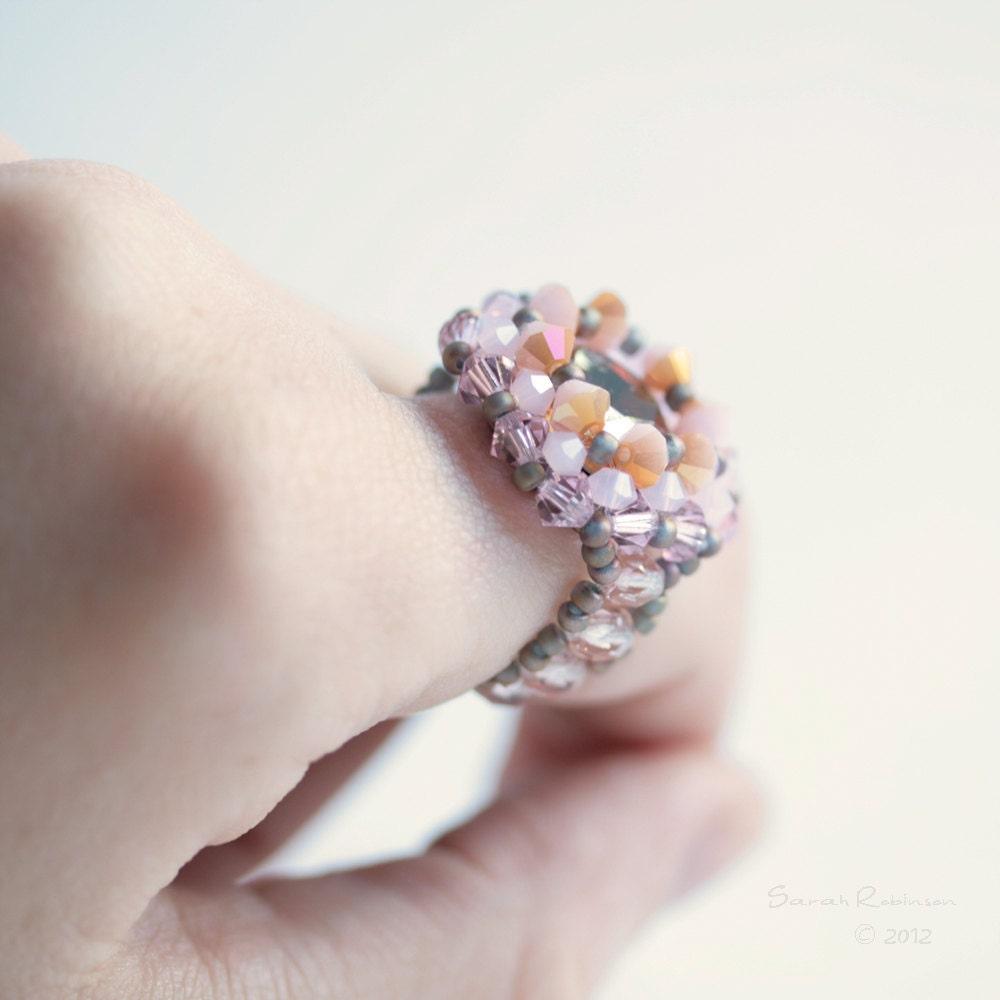 Pale Pink Swarovski Crystal Ring. Beadwork - SarahRobinL