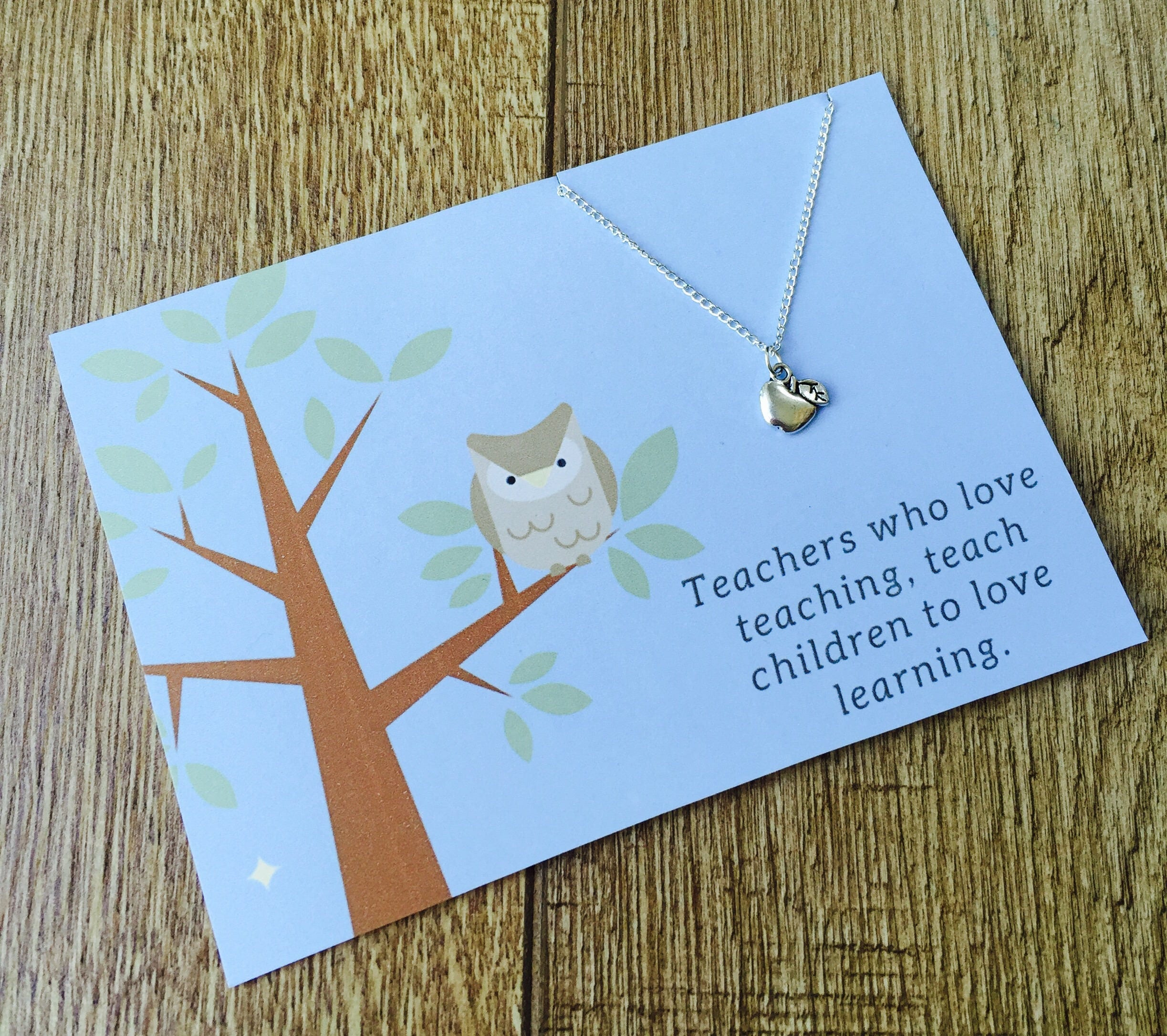 Thank you Teacher Charm Necklace Personalised Teacher Gift Apple Teacher Charm Unique Teacher Gift Teachers Who Love Teaching