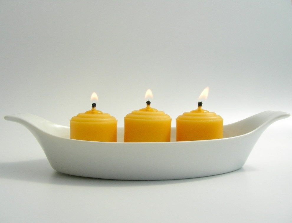 12 Little Beeswax Wedding Votive Candles