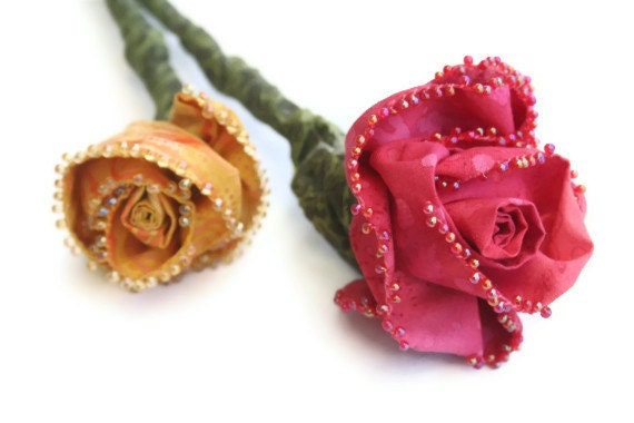 Everlasting Sculpted Fabric Rose Stem Bridal Bouquet - Made to Order