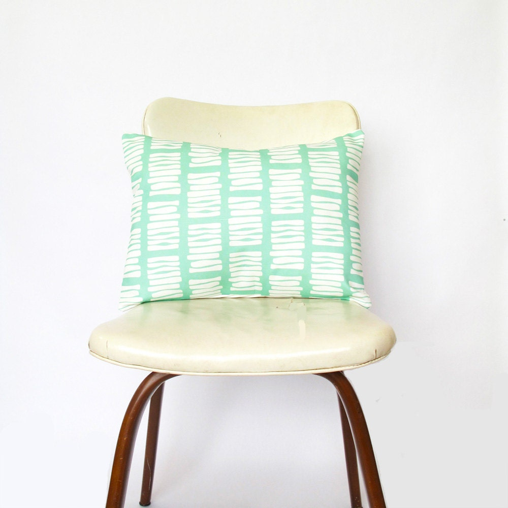 Mint Decorative Pillow Cover in original 'Boardwalk' Print - custom cushion covers - SALE - ClothandINK