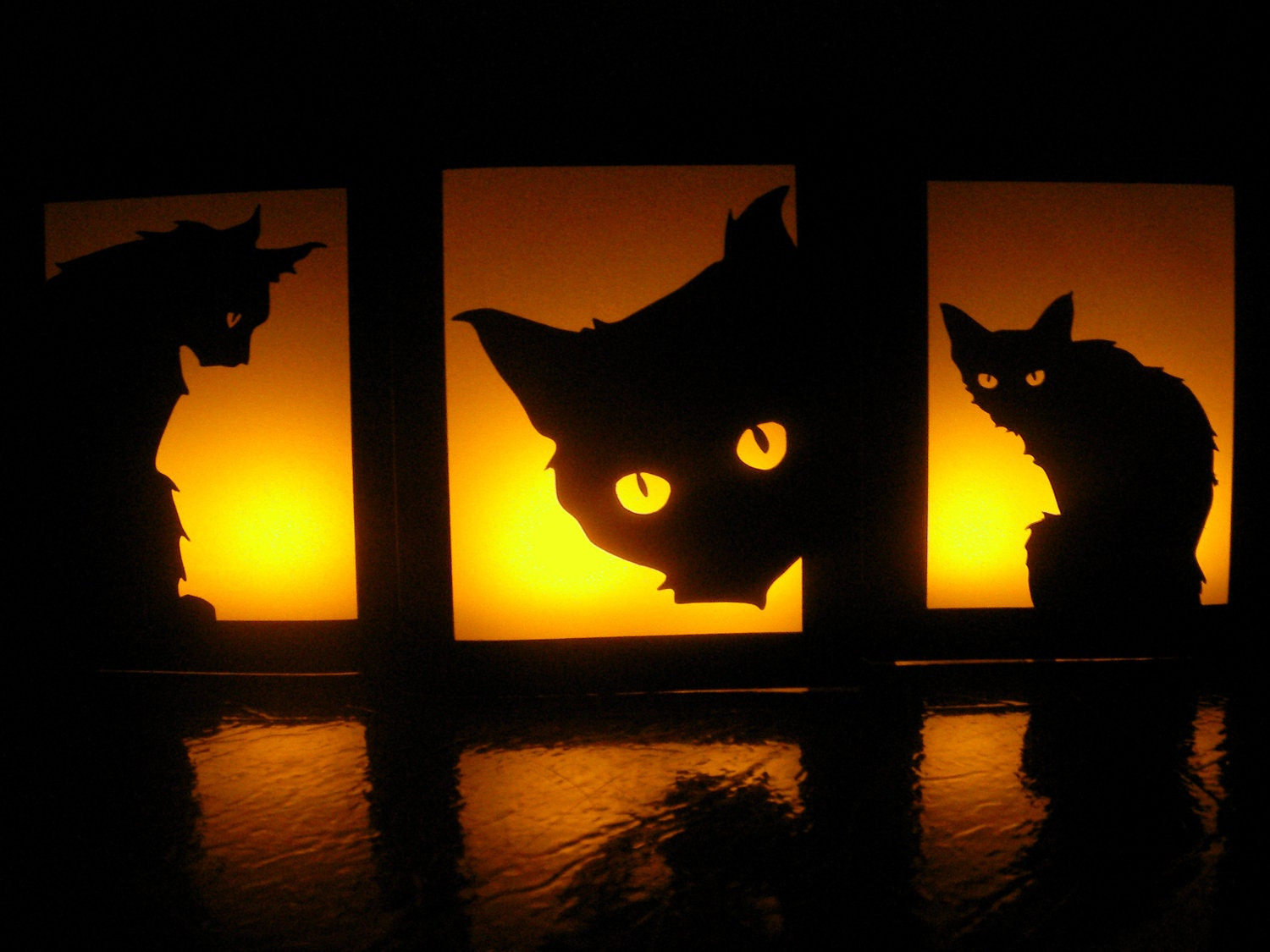 Black Cat Halloween Luminaries - Set of 3 - Party Decorations