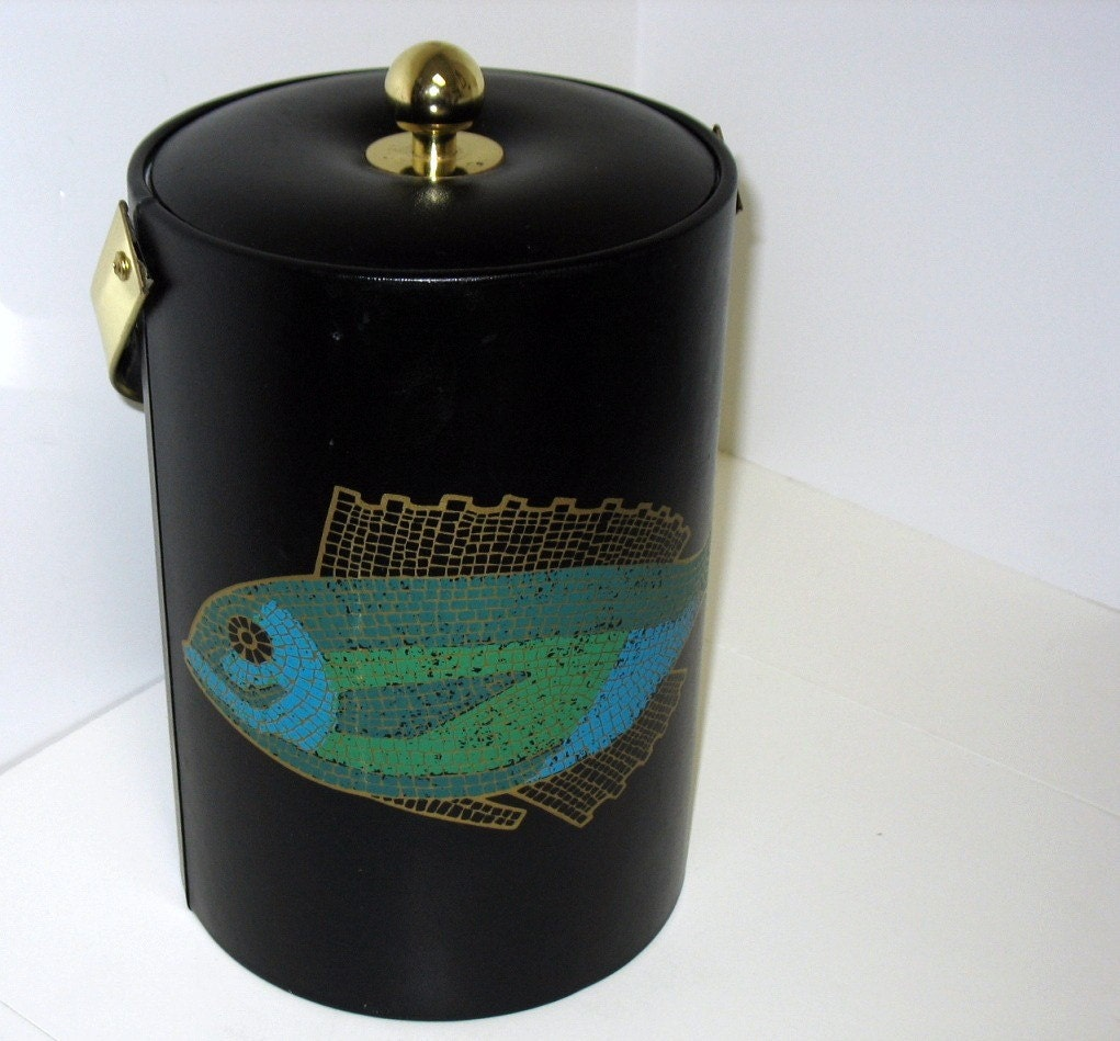 Vintage couroc mosaic fish ice bucket mid century by for Ice fishing bucket