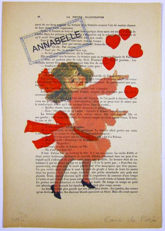 """Ваше имя с девушкой и сердца - ORIGINAL персонализированные ARTWORK Mixed Media, Ручная роспись на """"La Petit Иллюстрация"""" 1921 Parisien Magazine"""