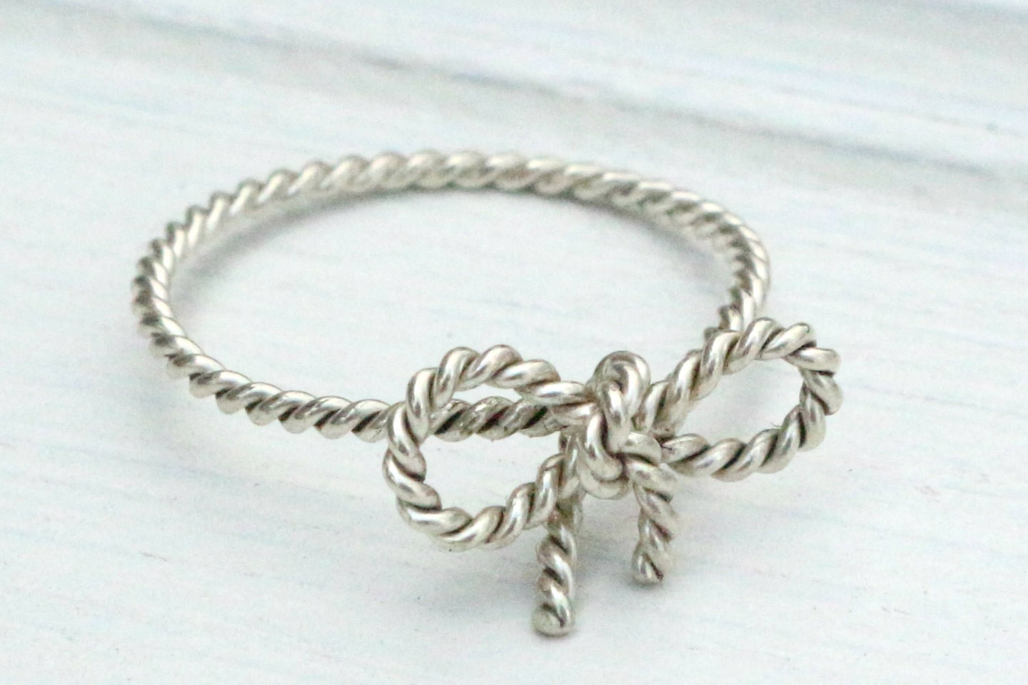 TINY BOW Ring - Forget Me KNOT Ring - Twisted Sterling Silver