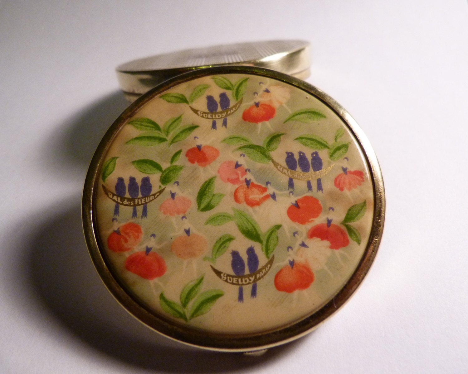 Rare antique ballerina compact GUELDY Bal des Fleurs celluloid ballet compact SOMETHING BLUE gifts very rare compact mirrors 1920s