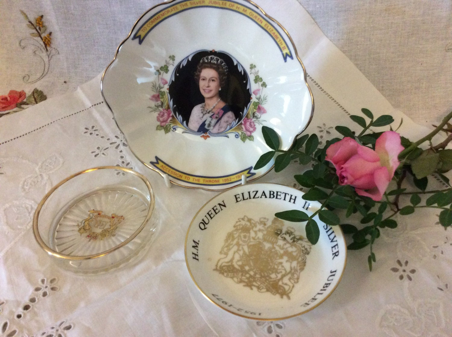 Collection Of Three Pieces of Royal Commemorative China Glass 1977  1953