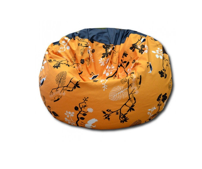 Orange-grey multifunctional beanbag chair cover with little birds - sinaigabi