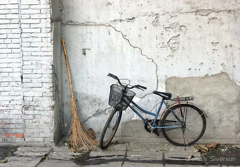 "20"" x 16"" A Broom and a Bike Wall Art, Beijing, China, Rustic, Shabby Chic, Fine Art Travel Photography by Glennis Siverson - glennisphotos"