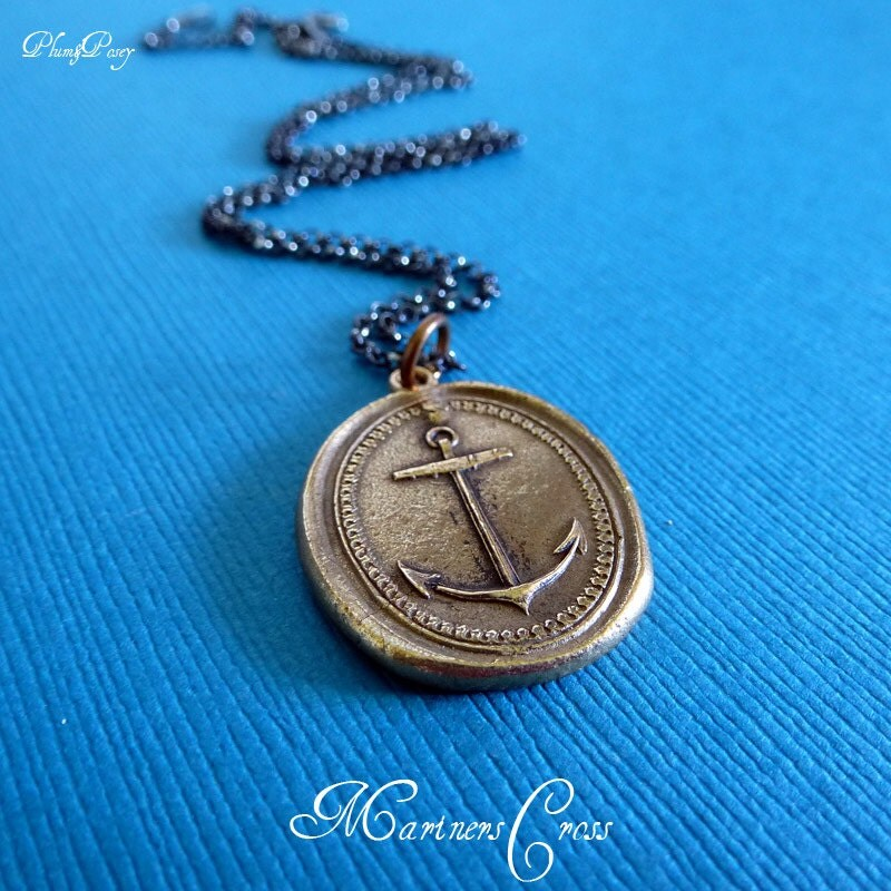 anchor necklace in bronze mariners cross by plumandposeyinc
