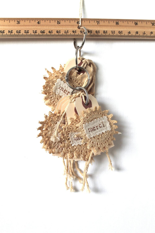 Подарочные Метки ручной французского Vintage Style вязания кофе Витражи Потертый Chic набор из трех