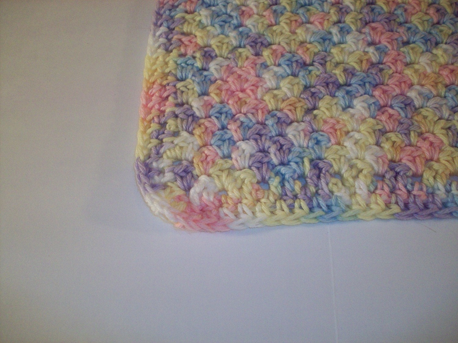 Crochet Patterns Variegated Yarn : crocheted in double crochet shell blanket with variegated yarn