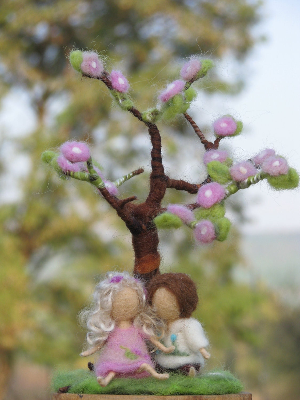 Needle felted spring tree decoration waldorf by Made4uByMagic