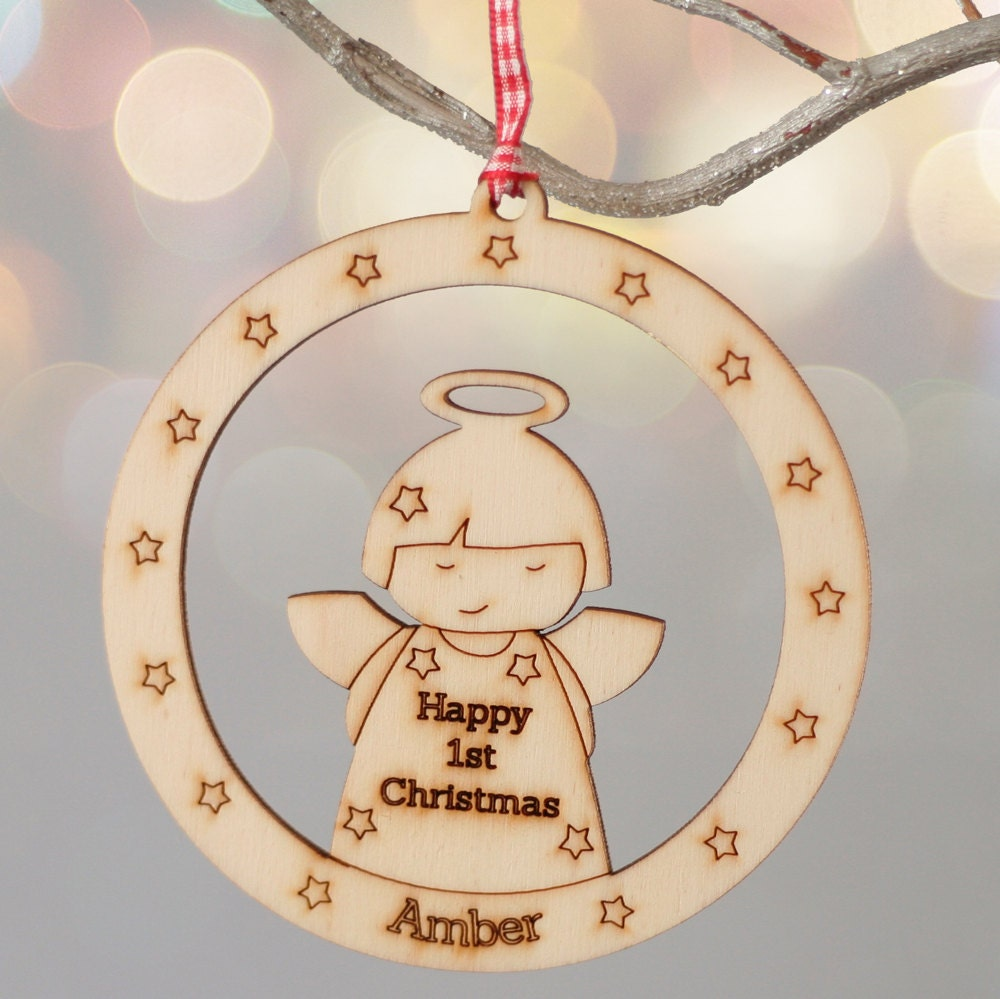 Christmas Angel Personalised Bauble Style Decoration  Babys First Christmas  Wooden Tree Ornament  Christmas Decoration for Kids