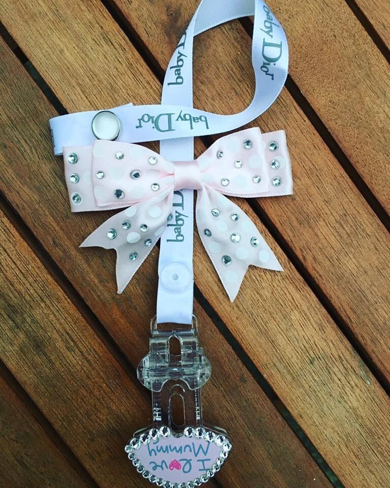 Swarovski Baby dummy clip pacifier clip love mummy  baby Dior designer ribbon handmade baby baby bling newborn baby dummy saver posh tots