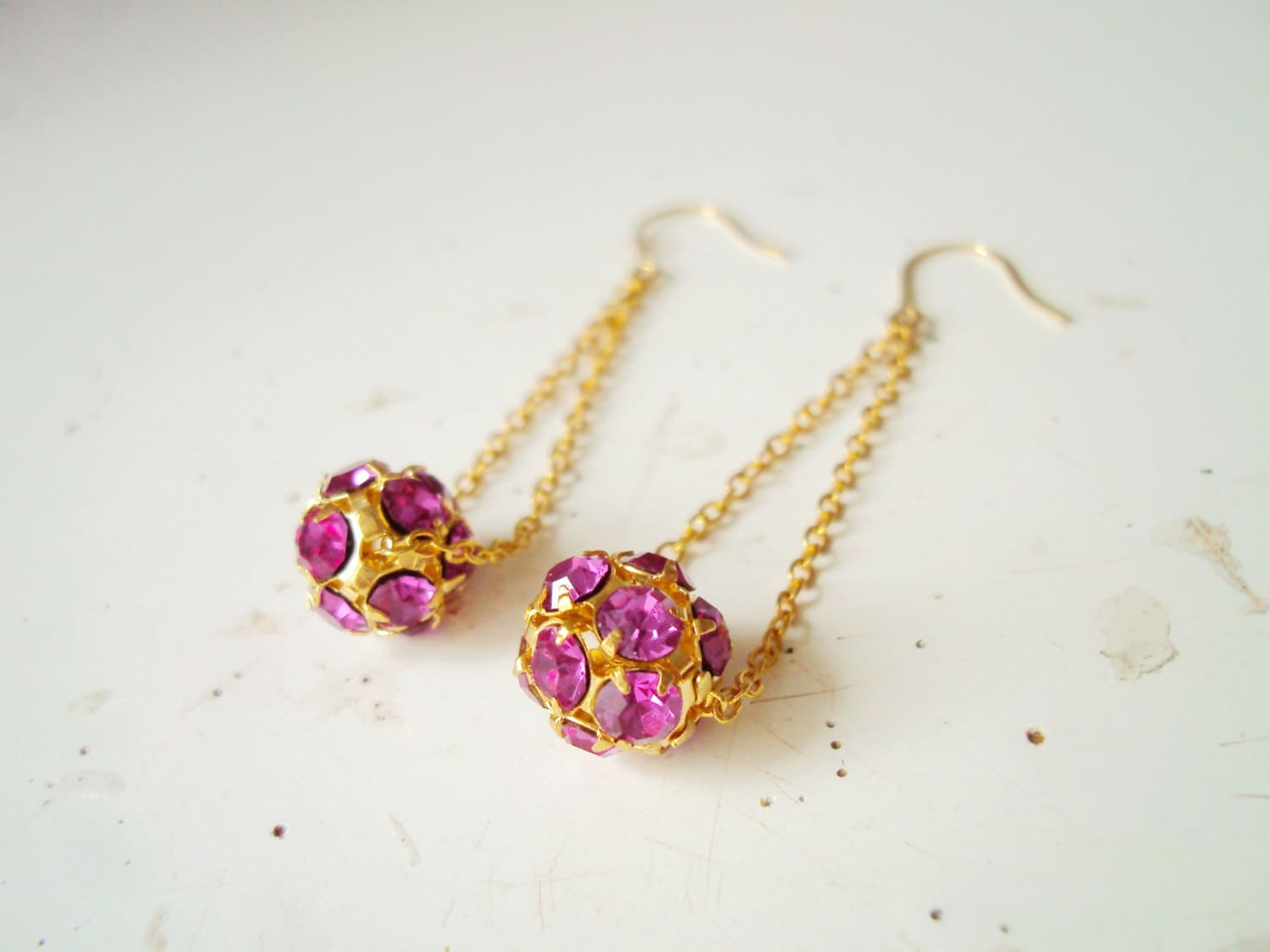Gold Chain Earrings, Fuchsia Rhinestone Balls, Long Crystal Earrings, Studded Ball Earrings, Dangle drop earrings - BijuBrill