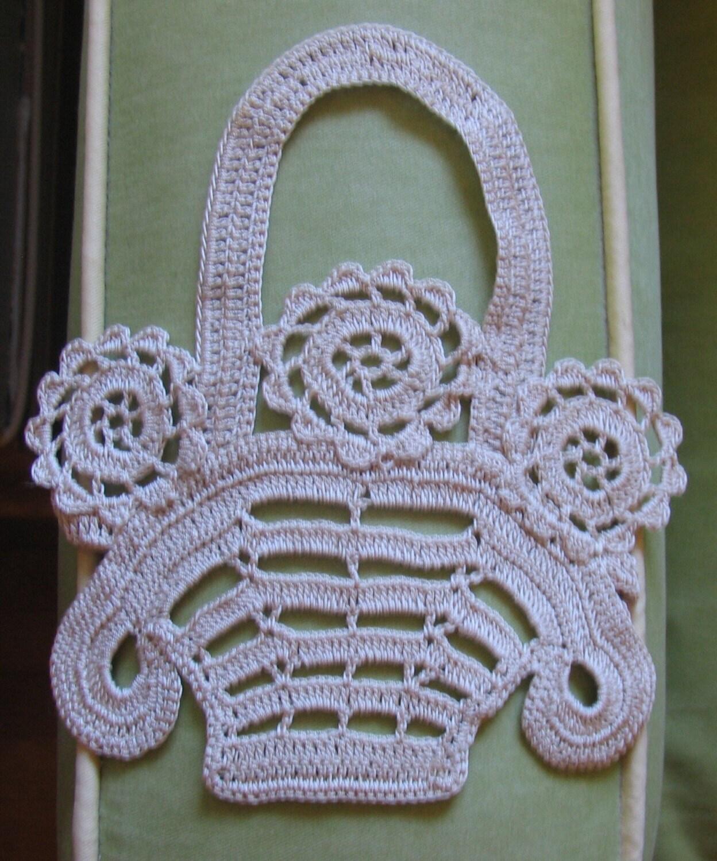 Crochet Hanging Flower Basket Pattern : Vintage Crocheted Ecru Flower Baskets Appliques by ...