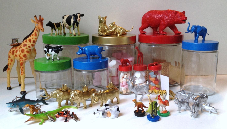 3x Glazen Snoeppotje Varken, Koe en Paard, Blauw