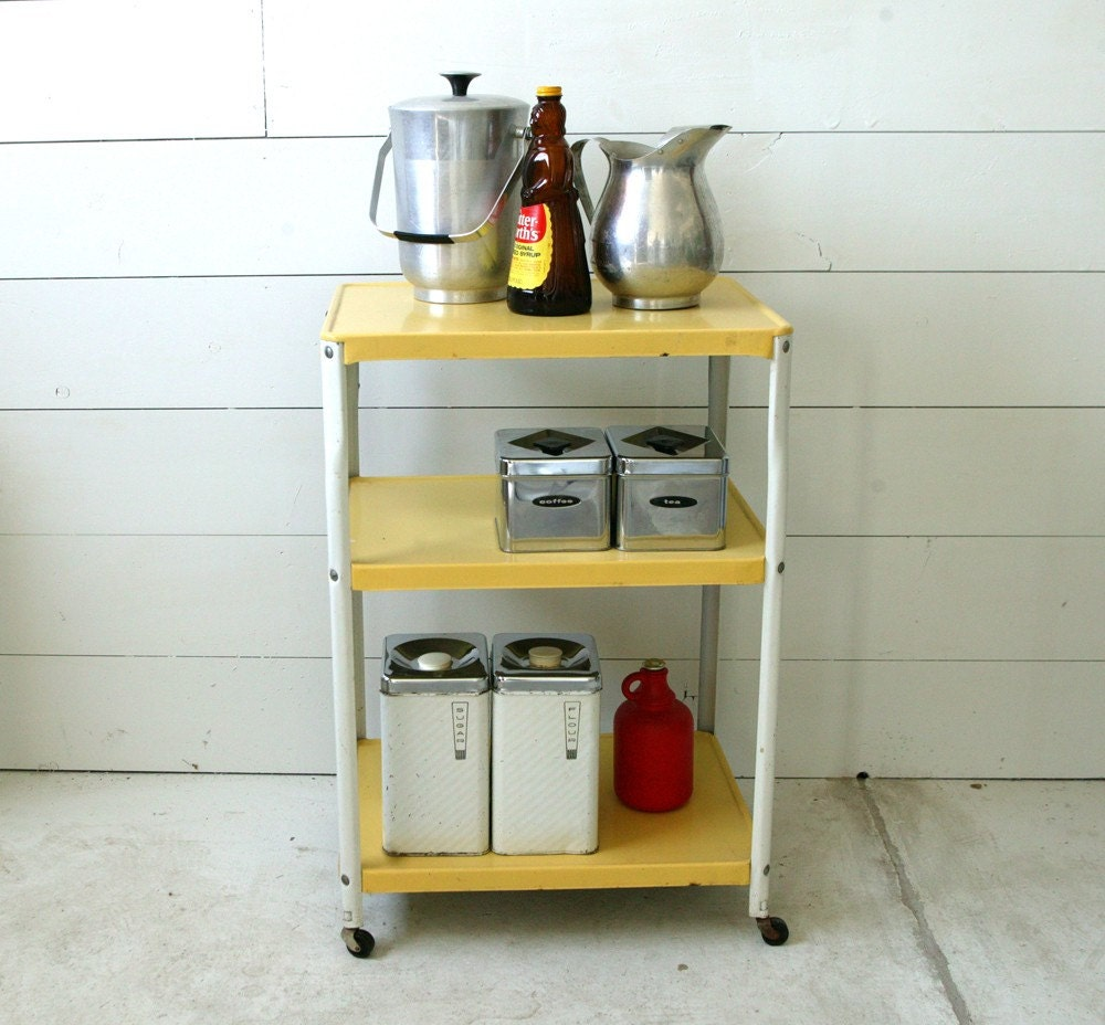 50s yellow metal kitchen trolley cart by johnnyvintage on etsy