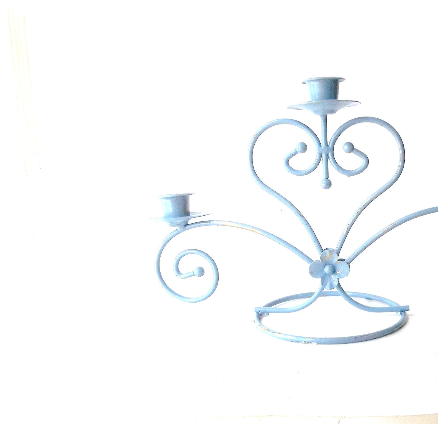Vintage Candlelabra. CandleHolder. French Shabby Chic Blue. Wrought Iron Metal Heart. Cottage Chic Decor