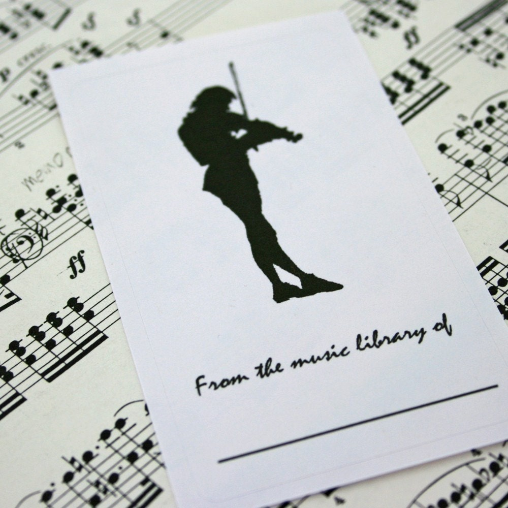 Man Playing Violin Silhouette - set of 16 Music Bookplate labels - Montserrat