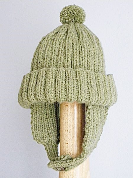 Hat With Ear Flaps Knitting Pattern : Items similar to Hand Knitted Hat With Ear Flaps Pom Pom ...