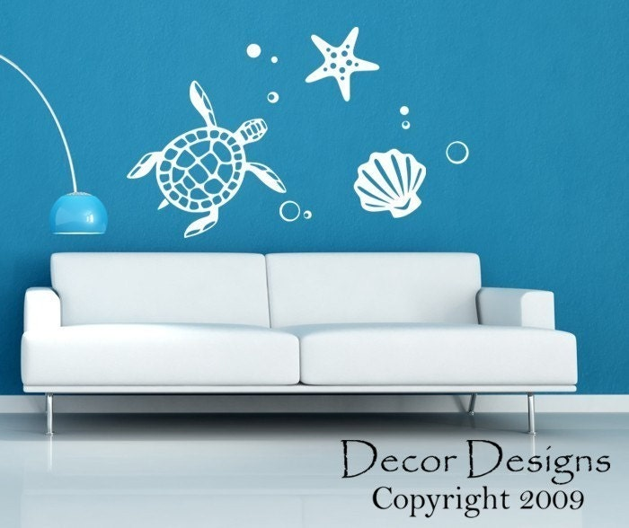 sea turtle wall decal by decordesigns on etsy. Black Bedroom Furniture Sets. Home Design Ideas