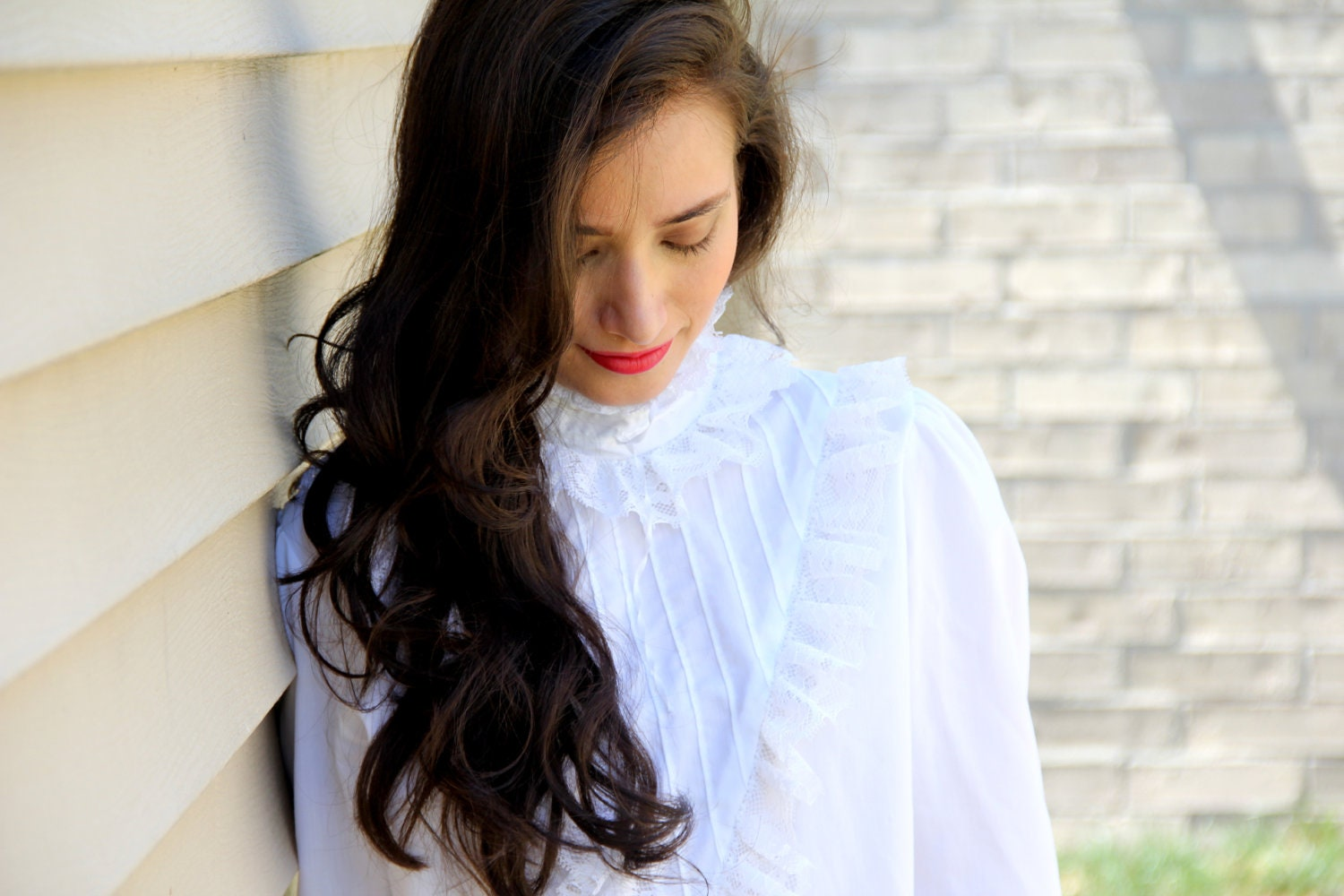 White Lace High Neck Blouse 99