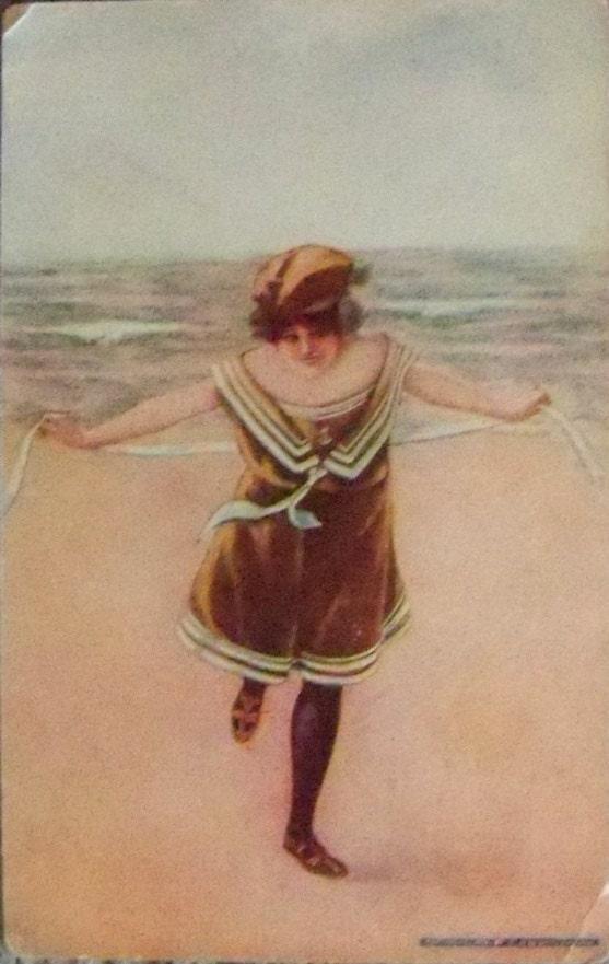 Antique Vintage Digital Image of Two Bathing Beauties at