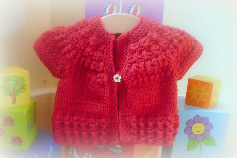 Knitting Pattern For Baby Seamless Yoked Sweater : Knitting PATTERN Seamless Top Down Baby Girl CARDIGAN di ceradka