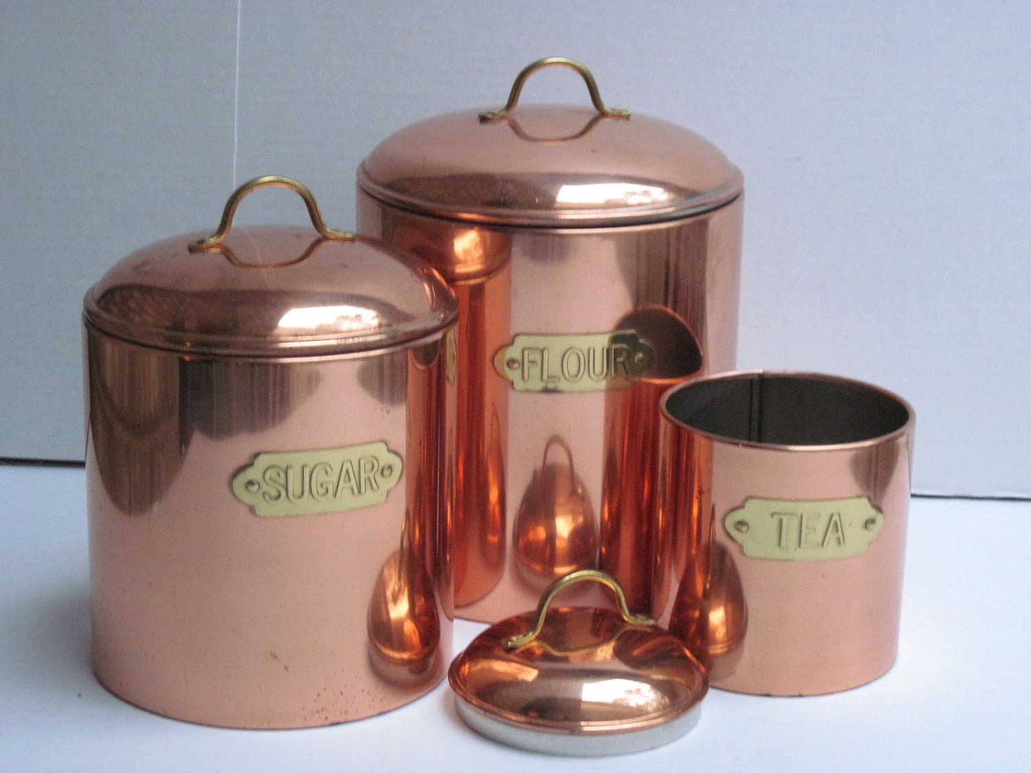 copper kitchen canisters by southcentric on etsy