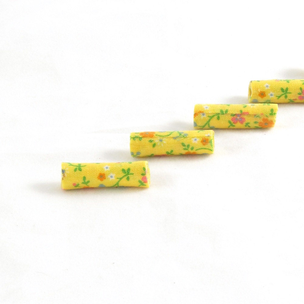 Fiber Beads Textile Beads Fabric Beads Yellow Beads with Orange and White Flowers with Green Leaves on a Bright Yellow Background - Fibernique