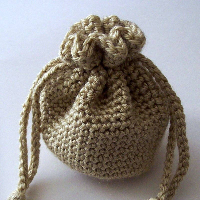 Crochet Drawstring Bag : Tan Crochet Drawstring Bag by HCKCrafts on Etsy