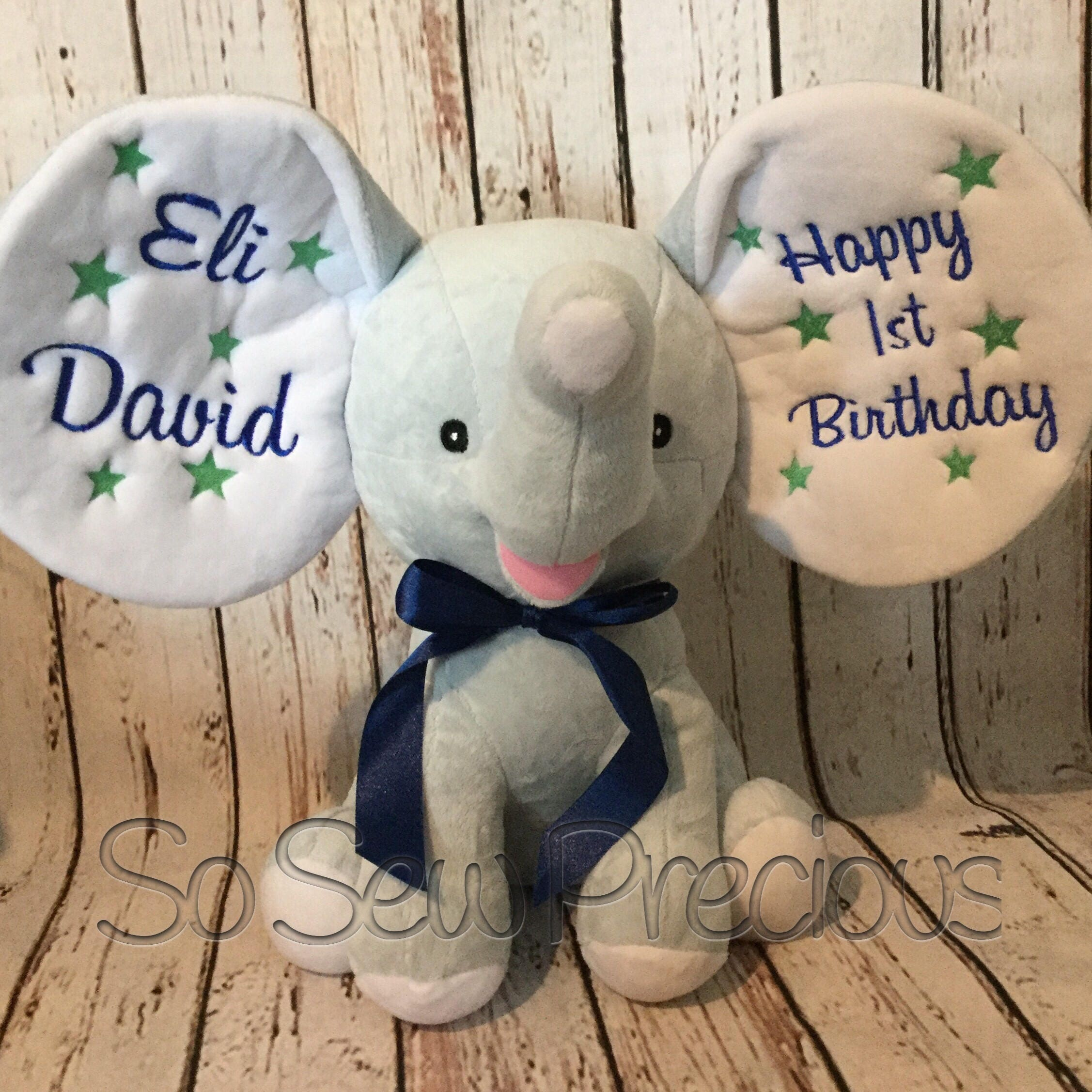 Cubbie Dumble Elephant Blue  personalised new baby gift christening first birthday personalized stuffie teddy bear