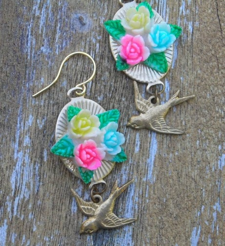 Flower Earrings Bird Swallow Pink yellow Rose Jewelry vintage Assemblage Celluloid Drop Earrings - LilisGems