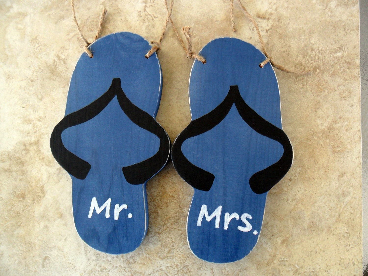 Items similar to Flip Flop Mr and Mrs Chair Signs for