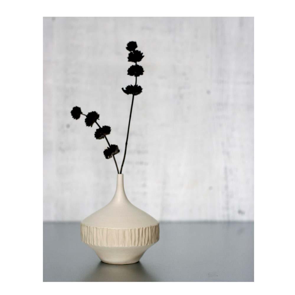 White Matte Stoneware Carved Vase by Sara Paloma - sarapaloma
