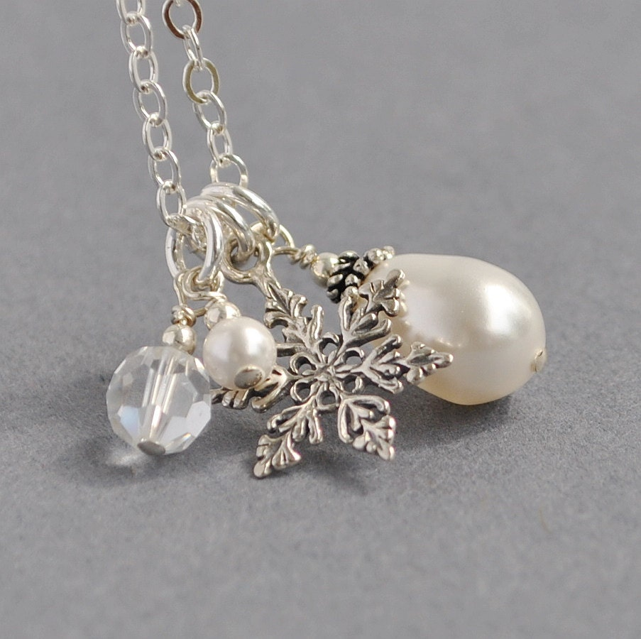 Snowflake Necklace,  White Pearl Pendant Necklace, Sterling Silver Snowflake Charm Necklace, Bridesmaids Necklace