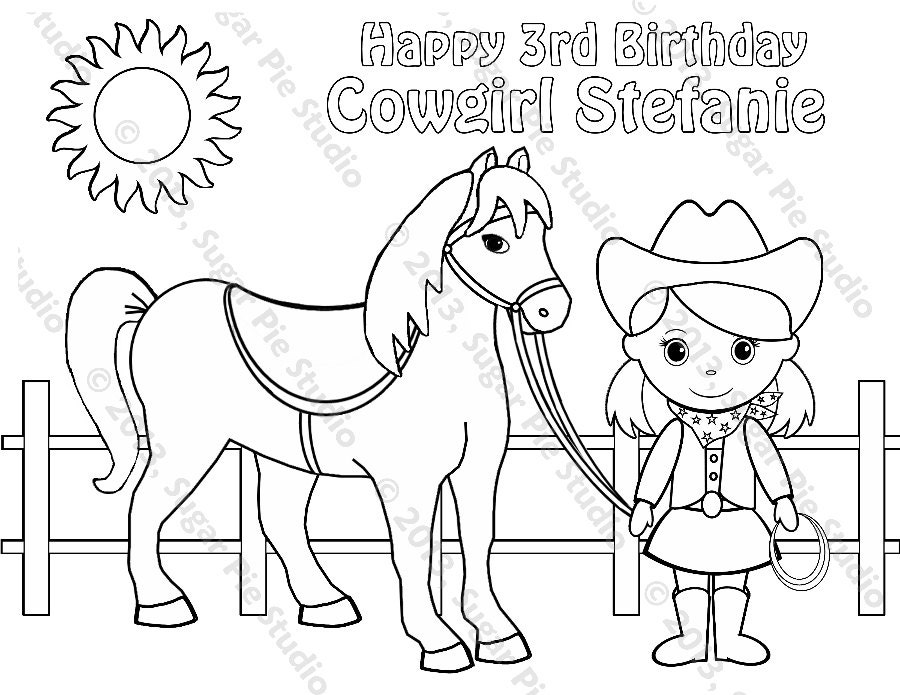 personalized printable cowgirl horse birthday by sugarpiestudio