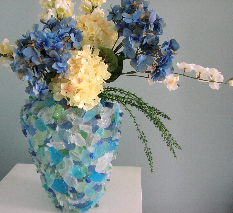 Море стеклянной вазе Пляж Декор - Пляж стеклянной вазе в Aqua, Green, Blue