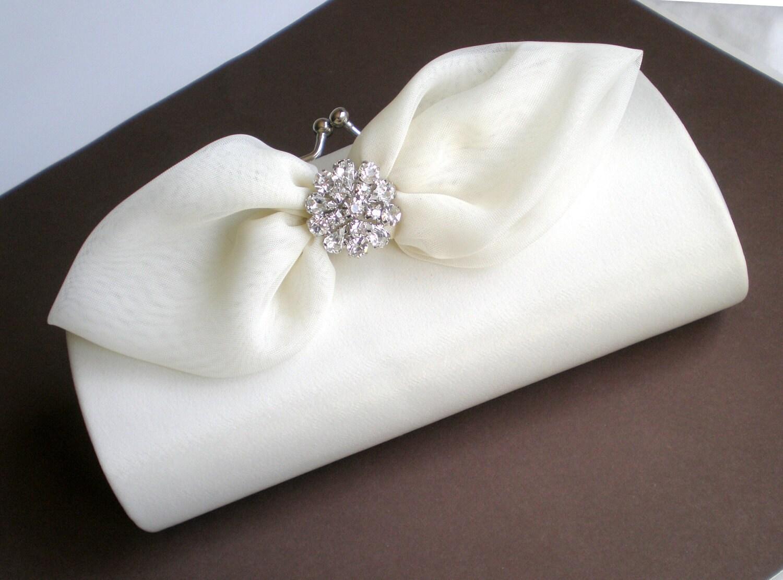 Elegant Ivory Bridal Clutch Purse... Chic Bow by blossomsandlace