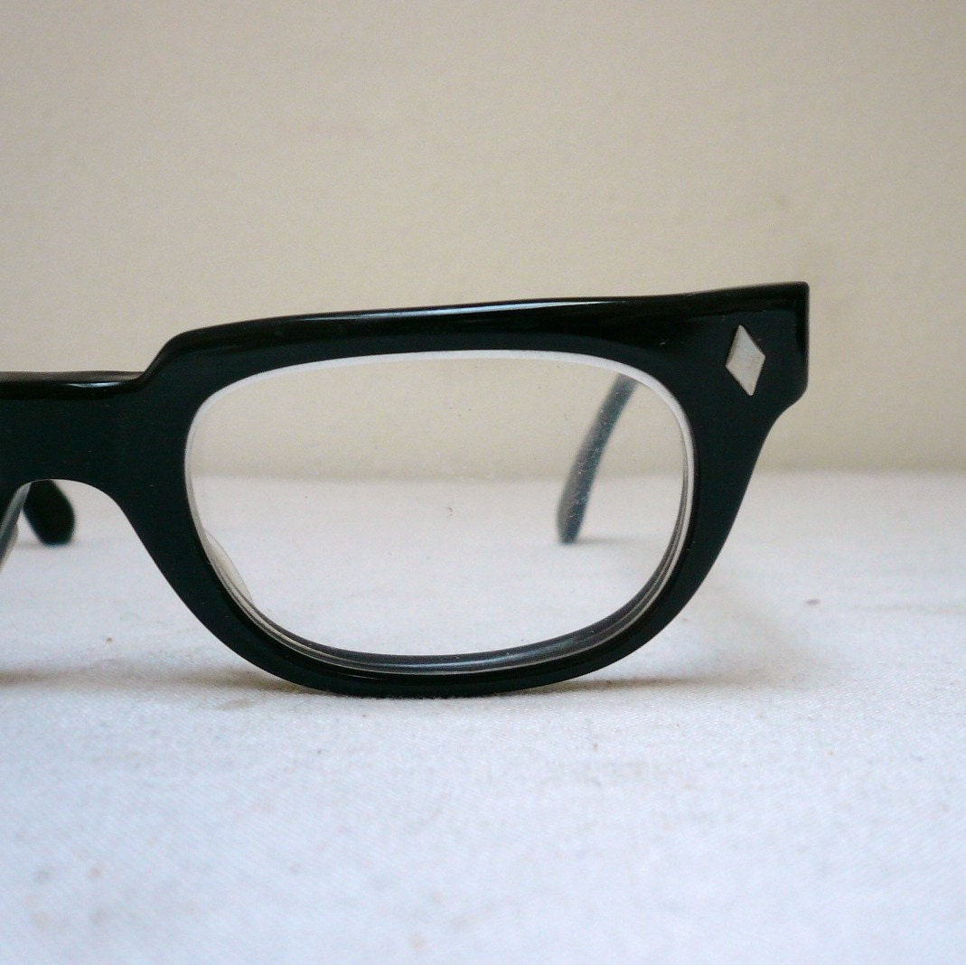 Glasses Frames Thick Black : Vintage 50s/60s THICK BLACK EYEGLASSES / Horn by ...