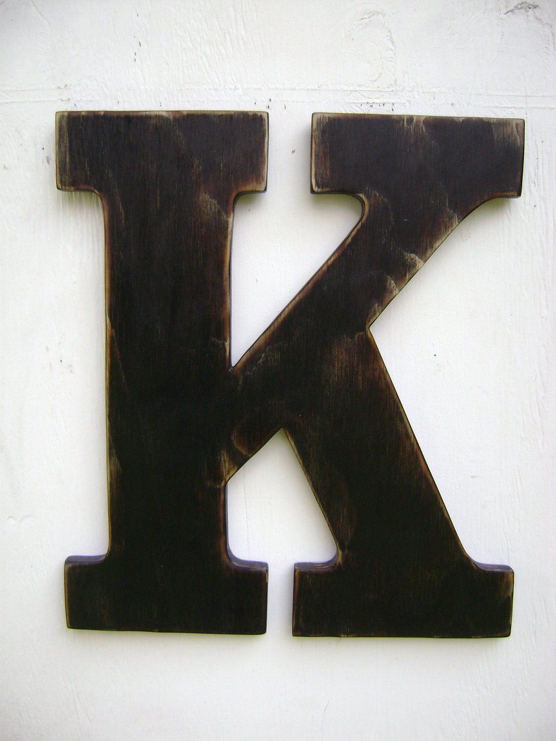 large wood letter k shabby chic wall hanging by unclejohnscabin. Black Bedroom Furniture Sets. Home Design Ideas