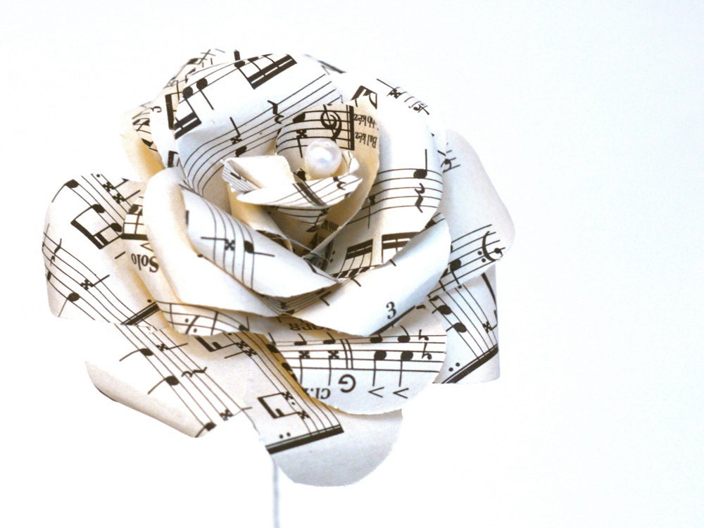 Rythm rose vintage sheet music paper rose upcycled paper for Paper roses sheet music free