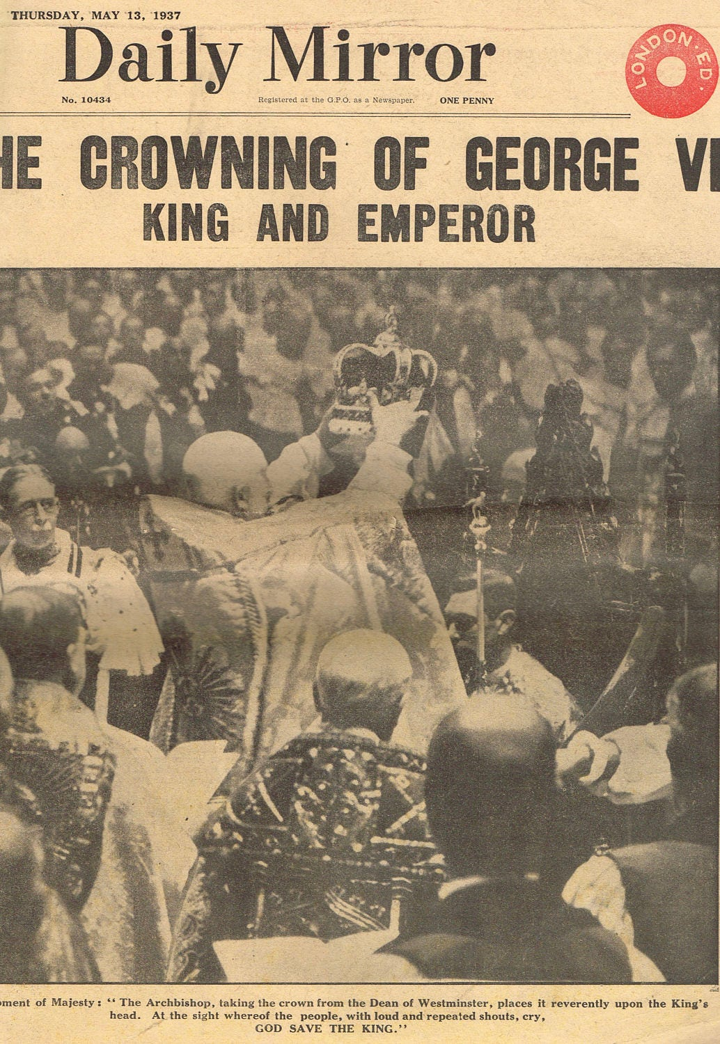 Antique vintage ephemera original 1937 Royal Family King George Coronation Daily Mirror newspaper